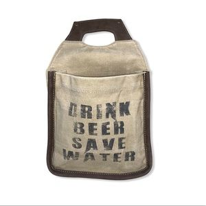 Clea Ray Drink Beer Save Water Canvas Beer Caddy